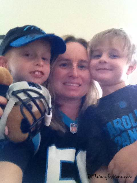 Carolina Panthers football team fans. Spending time with my boys and making my Game Day chili.