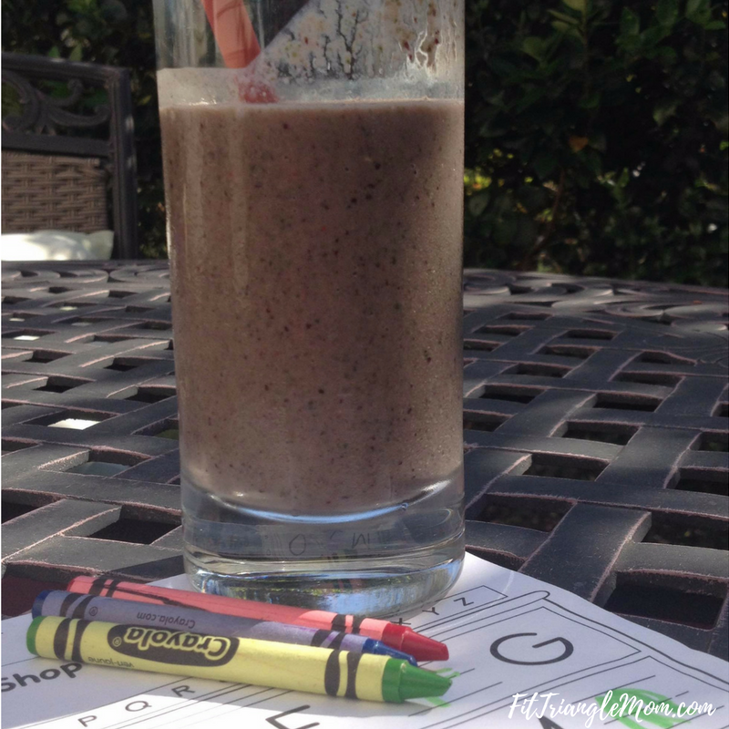After school snack smoothie filled with vitamins and nutrients. Recipe included.